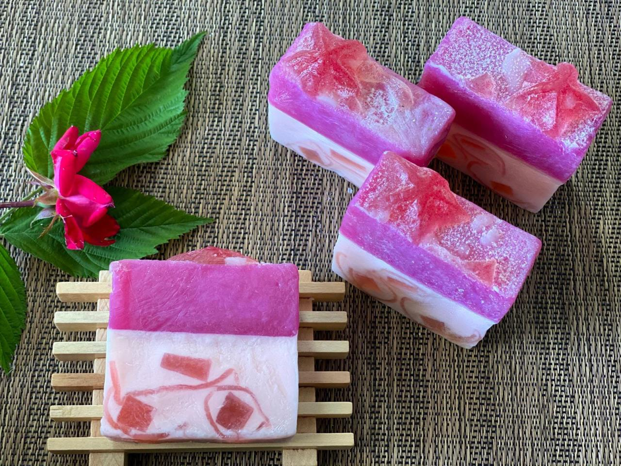 Handmade Natural Soap, Raspberry with Stars Soap Bar