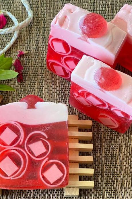 Handcrafted Natural Soap, Lovespell and plumeria with cherry topping soap, Artisan Soap